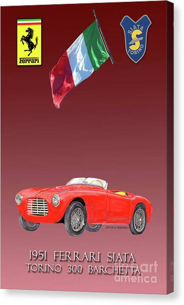 Canvas Print - 1951 Ferrari 212 Siata Barchettas  by Jack Pumphrey