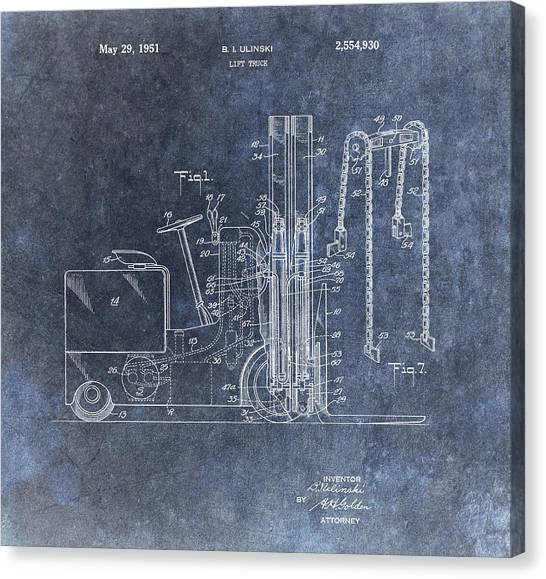Workers Canvas Print - 1951 Forklift Patent by Dan Sproul