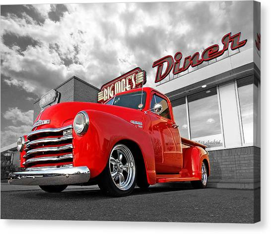 Chevy Truck Canvas Print - 1952 Chevrolet Truck At The Diner by Gill Billington