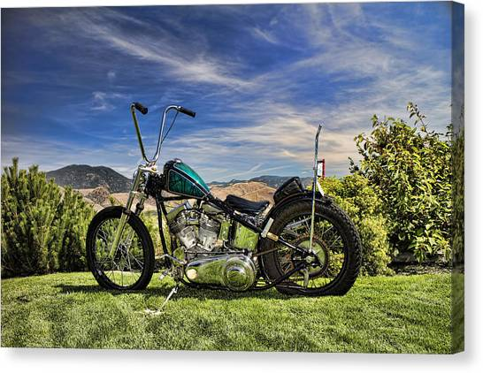 Choppers Canvas Print - 1951 Harley Davidson Motorcycle Chopper by David Smith