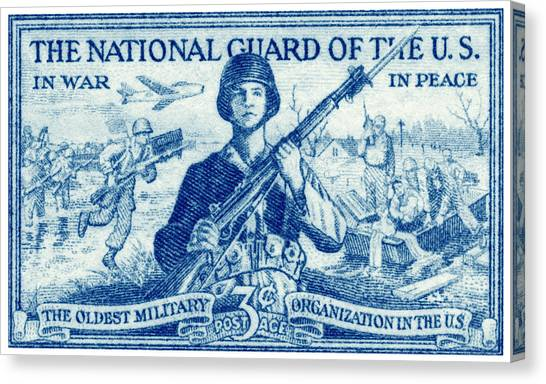 National Guard Canvas Print - 1952 National Guard Stamp by Historic Image