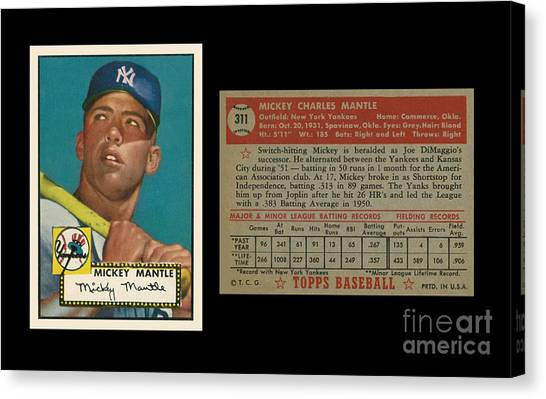 Mickey Mantle Canvas Print - 1952 Topps Mickey Mantle Rookie Card by Art Kurgin