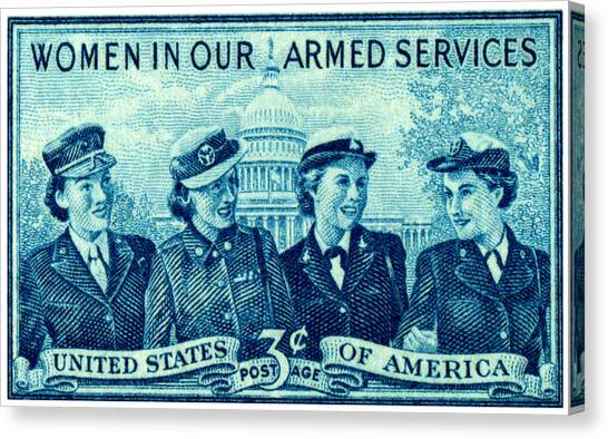 1952 Women In Military Service Stamp Canvas Print