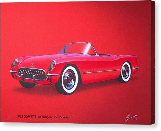 Roadrunner Canvas Print - 1953 Corvette Classic Vintage Sports Car Automotive Art by John Samsen
