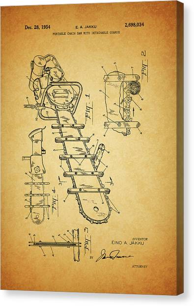 Chainsaw Canvas Print - 1954 Chainsaw Patent by Dan Sproul