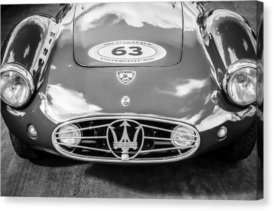 Canvas Print featuring the photograph 1954 Maserati A6 Gcs -0255bw by Jill Reger