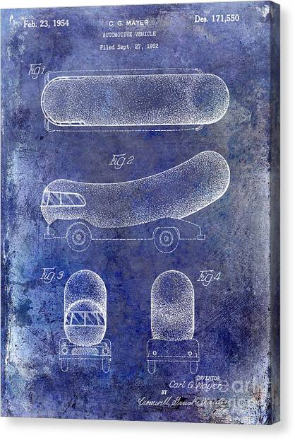 Hot Dogs Canvas Print - 1954 Weiner Mobile Patent Blue by Jon Neidert