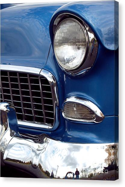 Car Canvas Print - 1955 Chevy Front End by Anna Lisa Yoder