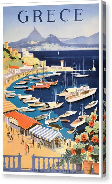 The Parthenon Canvas Print - 1955 Greece Athens Bay Of Castella Travel Poster by Retro Graphics