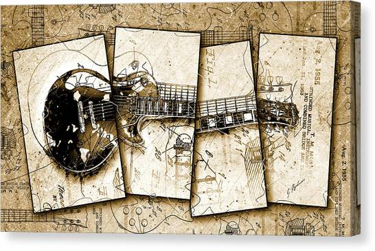 Van Halen Canvas Print - 1955 Les Paul Custom Quadtych by Gary Bodnar
