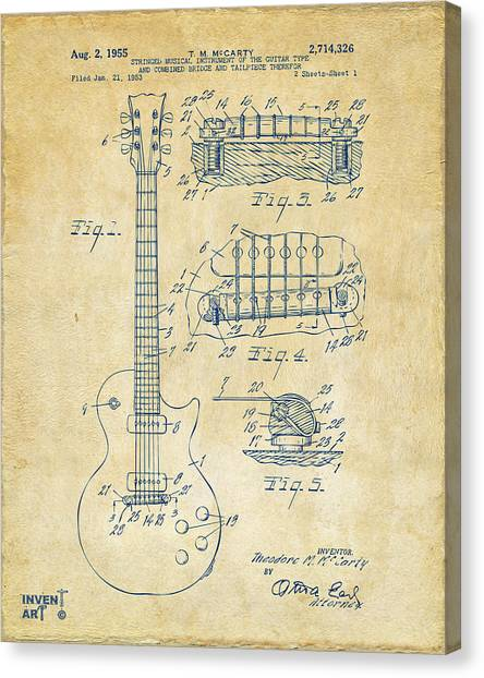 Acoustic Guitars Canvas Print - 1955 Mccarty Gibson Les Paul Guitar Patent Artwork Vintage by Nikki Marie Smith