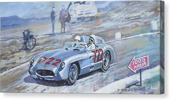 Automotive Art Canvas Print - 1955 Mercedes Benz 300 Slr Moss Jenkinson Winner Mille Miglia 01-02 by Yuriy Shevchuk