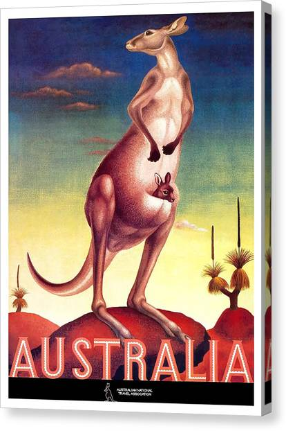 Kangaroo Canvas Print - 1956 Australia Outback Kangaroo Travel Poster by Retro Graphics