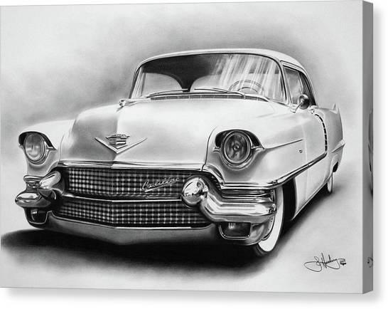 Classic Car Drawings Canvas Print - 1956 Cadillac Drawing by John Harding