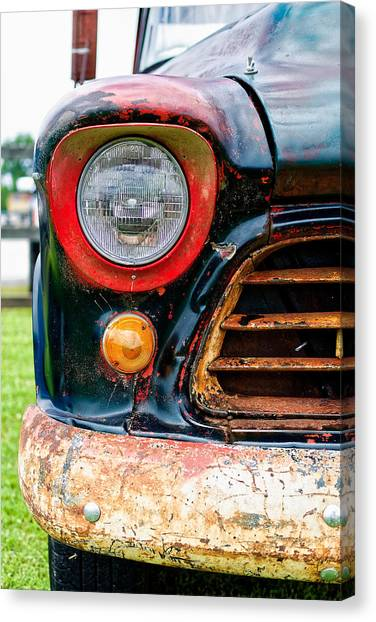 Old Chevrolet Canvas Print - 1956 Chevy 3200 Pickup Grill Detail by Jon Woodhams