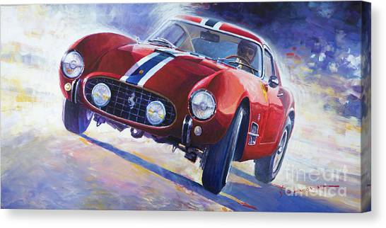 Oil On Canvas Print - 1956 Ferrari 250 Gt Berlinetta Tour De France by Yuriy Shevchuk