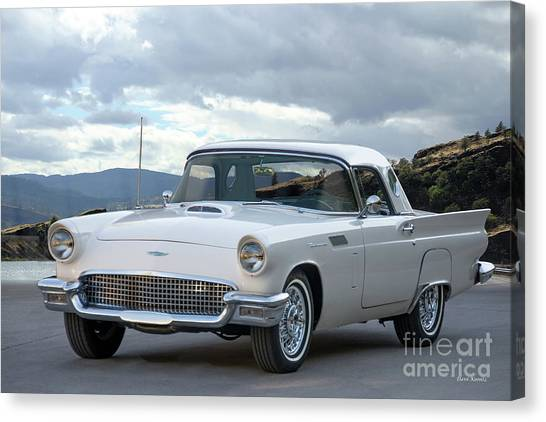 Stock Cars Canvas Print - 1956 Ford Thunderbird 'port Hole' Hardtop by Dave Koontz