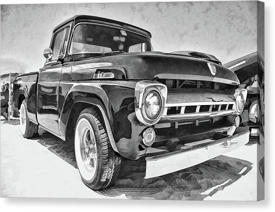 1957 Ford F100 In Black And White Canvas Print