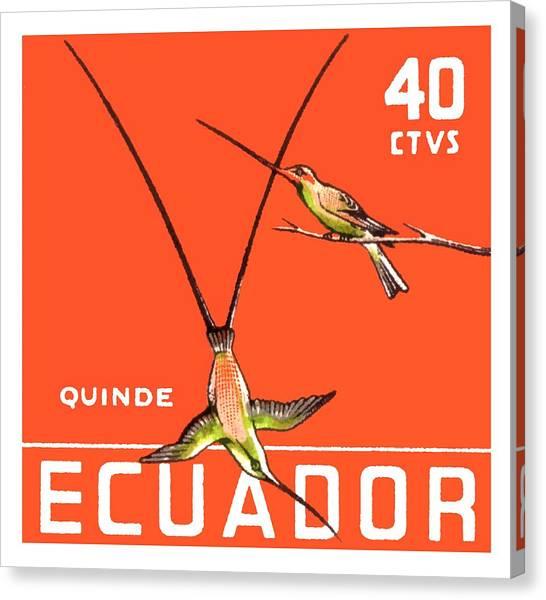 Ecuadorian Canvas Print - 1958 Ecuador Hummingbirds Postage Stamp by Retro Graphics