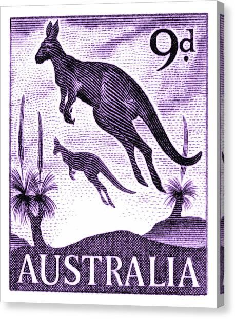 Kangaroo Canvas Print - 1959 Australia Kangaroo Postage Stamp by Retro Graphics