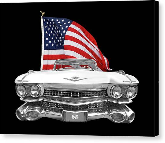 American Independance Canvas Print - 1959 Cadillac With Us Flag by Gill Billington