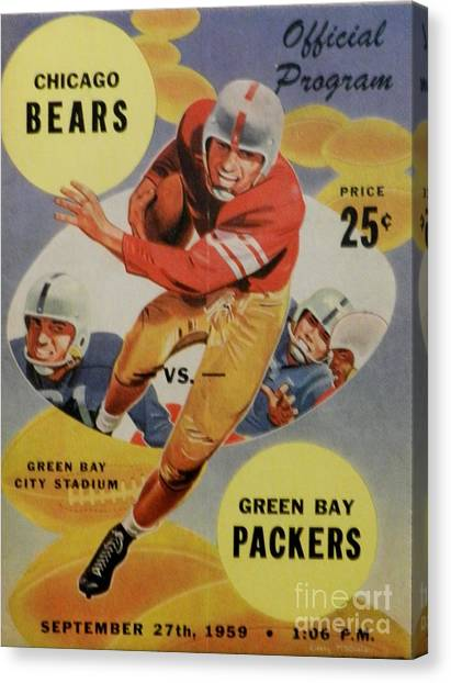 Reggie White Canvas Print - 1959 Chicago Bear Vs. Green Bay Packers Program by Snapshot Studio