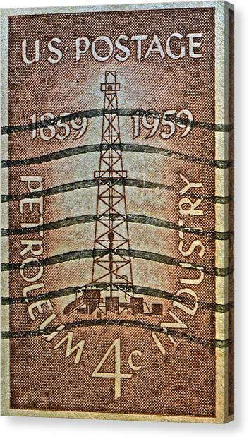 1959 First Oil Well Stamp Canvas Print