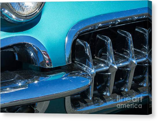 1960 Chevy Corvette Headlight And Grill Abstract Canvas Print