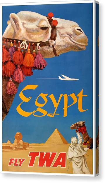 Camels Canvas Print - 1960 Egypt Twa David Klein Travel Poster  by Retro Graphics