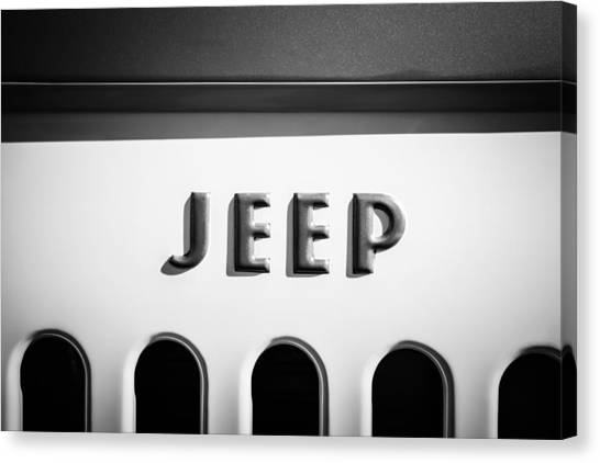 Jeep Canvas Print - 1960 Forward Control Jeep Fc-170 Emblem -1642bw by Jill Reger