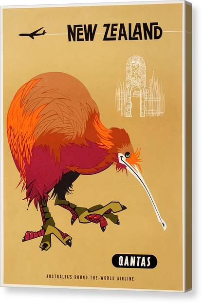 Kiwis Canvas Print - 1960 Qantas New Zealand Kiwi Travel Poster by Retro Graphics