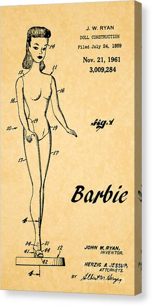 Vintage Canvas Print - 1961 Barbie Doll Patent Art 5 by Nishanth Gopinathan