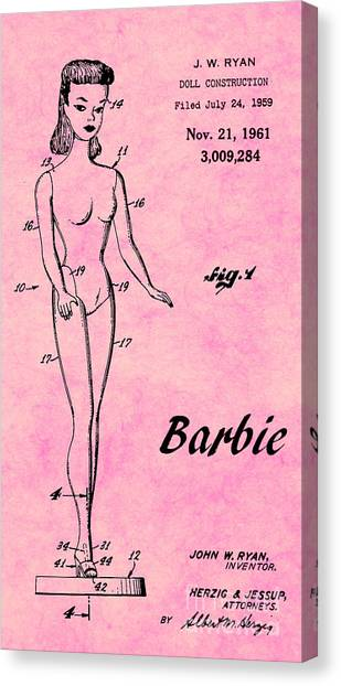 Vintage Canvas Print - 1961 Barbie Doll Patent Art 7 by Nishanth Gopinathan