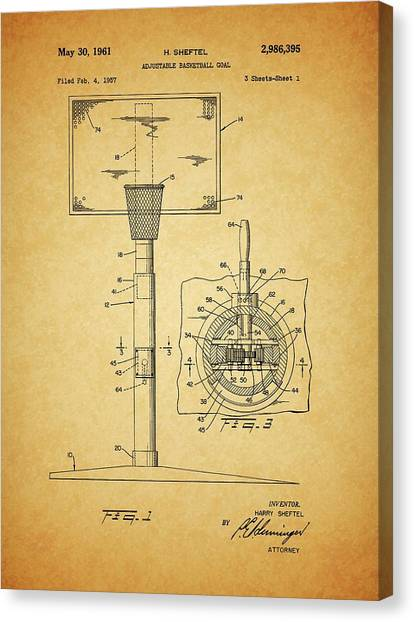 Three Pointer Canvas Print - 1961 Basketball Hoop Patent by Dan Sproul