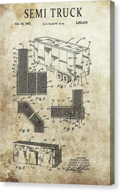 Truck Driver Canvas Print - 1961 Semi Truck Patent by Dan Sproul