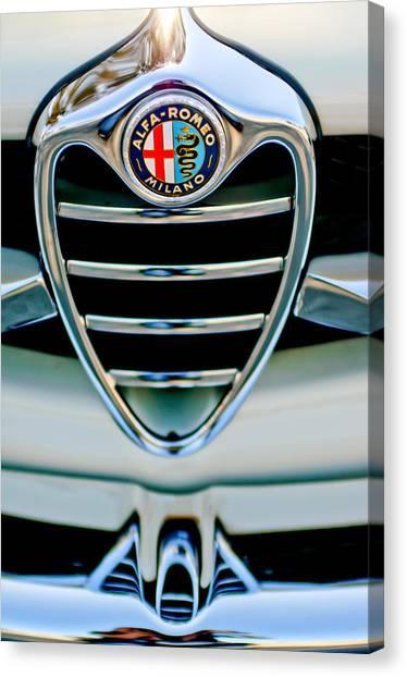 Romeo Canvas Print - 1962 Alfa Romeo Giulietta Coupe Sprint Speciale Grille Emblem by Jill Reger