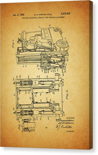 Forklifts Canvas Print - 1962 Forklift Patent by Dan Sproul