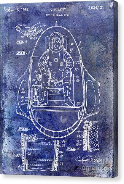 Space Suit Canvas Print - 1962 Mobile Space Suit Patent Blue by Jon Neidert