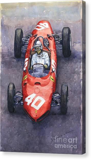 Automotive Art Canvas Print - 1962 Monaco Gp Willy Mairesse Ferrari 156 Sharknose by Yuriy Shevchuk