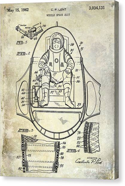 Space Suit Canvas Print - 1962 Space Suit Patent by Jon Neidert