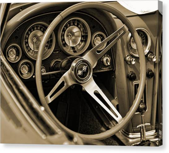 1963 Chevrolet Corvette Steering Wheel - Sepia Canvas Print