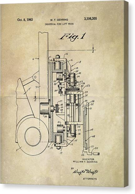 Forklifts Canvas Print - 1963 Lift Truck Patent by Dan Sproul