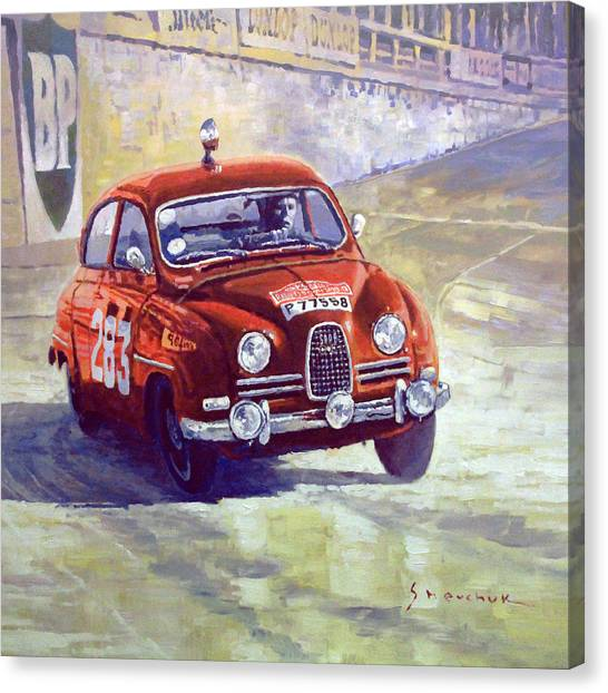 Automotive Art Canvas Print - 1963 Saab 96 #283  Rallye Monte Carlo  Carlsson Palm Winner by Yuriy Shevchuk