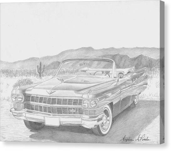 1964 Cadillac Series 62 Convertible Classic Car Art Print Canvas Print by Stephen Rooks