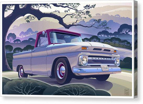 Rolling Hills Canvas Print - 1964 Chevrolet Short Bed Custom Half Ton In The Morning Mist by Garth Glazier
