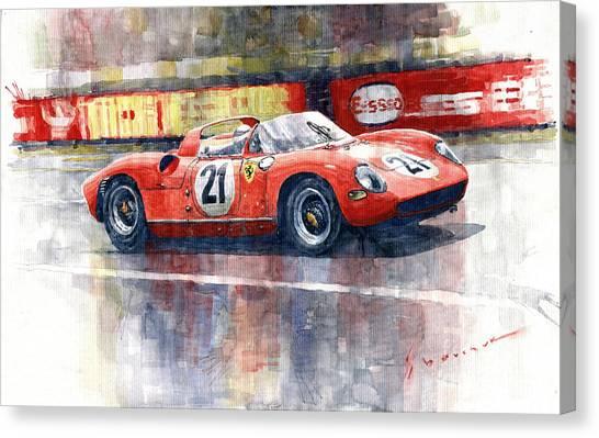 Ferrari Canvas Print - 1964 Lemans 24 Ferrari 275p Ludovico Scarfiotti  by Yuriy Shevchuk