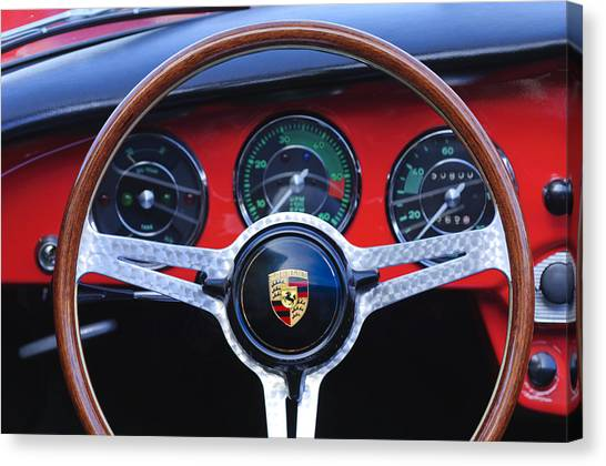 1964 Porsche C Steering Wheel Canvas Print by Jill Reger