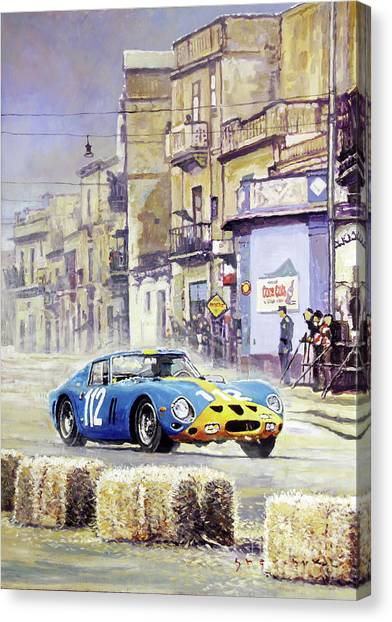 Oil On Canvas Print - 1964 Targa Florio Ferrari 250 Gto by Yuriy Shevchuk