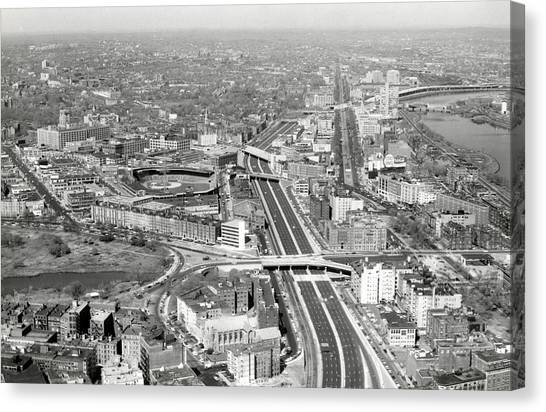 Patriot League Canvas Print - 1965 Aerial View Of Boston No.2 by Historic Image