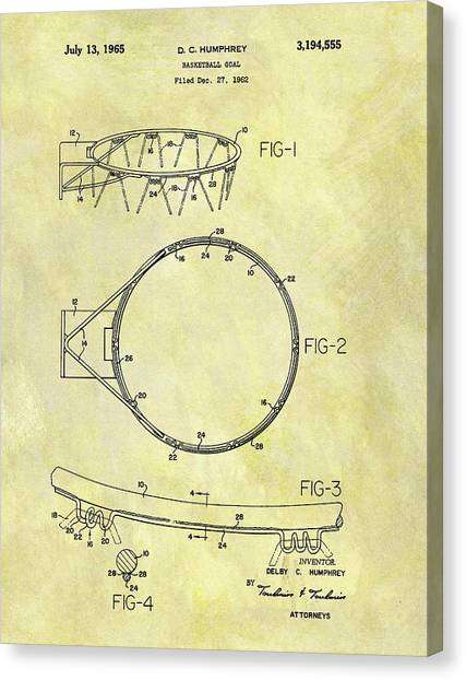 Three Pointer Canvas Print - 1965 Basketball Hoop Patent by Dan Sproul